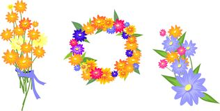 Pretty illustration with flowers. On white background Stock Image