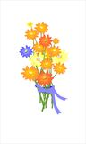 Pretty illustration with flowers. On white background Stock Photos