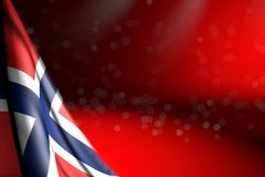Pretty illustration of Norway flag hanging in corner on red with soft focused and empty place for your content - any occasion flag. Nice any holiday flag 3d royalty free illustration