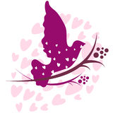 Pretty illustration with pigeon and hearts Stock Images