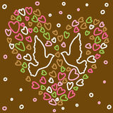 Pretty illustration with pigeon and hearts Royalty Free Stock Photography