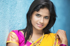 Pretty Indian girl in traditional Indian half sari Royalty Free Stock Images