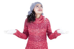 Pretty indian woman playing snow in studio Stock Image