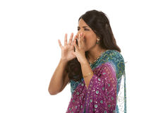 Indian woman. Pretty indian woman shouting on white isolated background Stock Photography