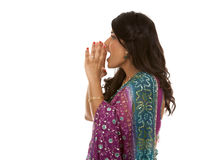 Indian woman. Pretty indian woman shouting on white isolated background Royalty Free Stock Image