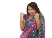 Indian woman. Pretty indian woman  winning on white isolated background Stock Images
