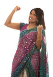 Indian woman. Pretty indian woman  winning on white isolated background Stock Photo