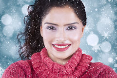 Pretty indian woman with winter background Royalty Free Stock Photos