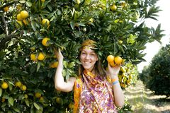 Pretty islam woman in orange grove smiling Stock Images