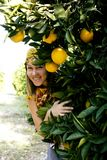 Pretty islam woman in orange grove smiling, real muslim girl che. Erful close up royalty free stock images