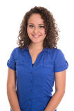 Pretty isolated girl in blue blouse and natural curls. Pretty and smiling isolated girl in blue blouse and natural curls royalty free stock images