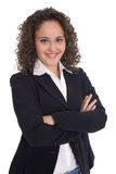 Pretty isolated young businesswoman in blazer and blouse. Royalty Free Stock Photos