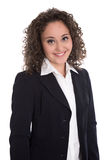 Pretty isolated young businesswoman in blazer and blouse. Stock Photos