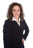 Pretty isolated young businesswoman in blazer and blouse. Royalty Free Stock Photography