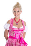 Pretty isolated young woman wearing bavarian dress called dirndl Stock Photos