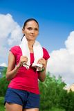 Pretty jogger on sky background Royalty Free Stock Photography