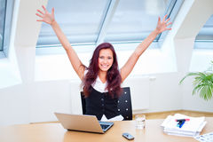 Pretty jubilant secretary Royalty Free Stock Photo