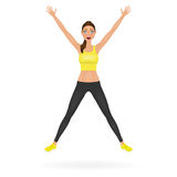 Pretty jumping girl in leggings and crop top with hands up. Happy young woman character. Vector illustration. Royalty Free Stock Photography