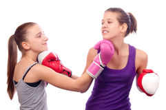 Pretty kick boxing girls fighting Royalty Free Stock Photos
