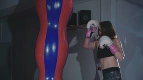 Pretty kickboxing woman training punching bag in sport studio in 4K stock video