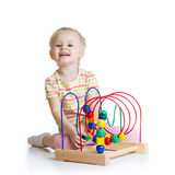 Pretty kid with color educational toy Royalty Free Stock Images