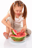 Pretty kid eating watermelon Royalty Free Stock Image
