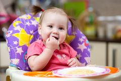 Pretty kid girl eating spaghetti Royalty Free Stock Image