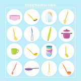 Pretty kitchenware icons. Vector pretty kitchenware icons on the blue background and white circles Stock Image