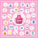 Pretty kitchenware icons. Vector pretty kitchenware icons on the pink background and white circles Royalty Free Stock Photo