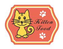Pretty kitten food label Stock Images