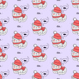 Pretty Kitten in Red Hat and Scarf Dreaming . Pretty kitten in red hat and scarf dreaming about mouse. Seamless pattern with cat in warm winter cloth. Wallpaper Stock Photography