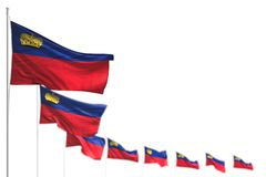 Pretty labor day flag 3d illustration - Liechtenstein isolated flags placed diagonal, illustration with selective focus and place vector illustration