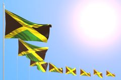 Pretty labor day flag 3d illustration - many Jamaica flags placed diagonal with selective focus and empty space for your content royalty free illustration