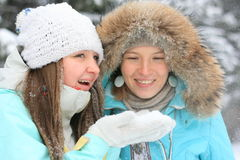 Pretty ladies playing with snow. And smiling Royalty Free Stock Photo