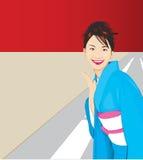Pretty Lady. Pretty Asian Lady wearing blue kimono royalty free illustration
