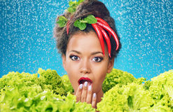 Pretty lady as a salad queen Stock Photo