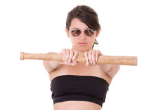 Pretty lady with a baseball bat, isolated on white Royalty Free Stock Images