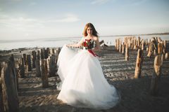 Pretty lady, bride posing in a wedding dress near sea on sunset Royalty Free Stock Images
