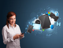 Pretty lady browsing on her smartphone. Pretty young lady browsing on her smartphone Royalty Free Stock Image