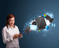 Pretty lady browsing on her smartphone Royalty Free Stock Image