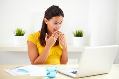 Pretty lady doing customer service looking shocked Royalty Free Stock Photo