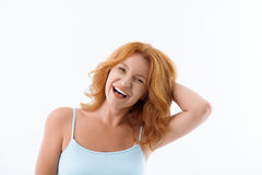Pretty lady expressing positive emotions royalty free stock photos