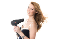Pretty lady with flying from fen hair royalty free stock photo