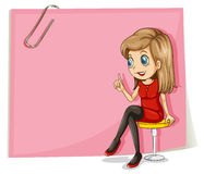 A pretty lady in front of the empty pink signage Royalty Free Stock Photo