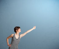 Pretty lady gesturing with copy space Stock Image