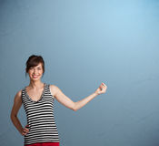 Pretty lady gesturing with copy space Royalty Free Stock Images