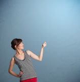 Pretty lady gesturing with copy space Stock Photos