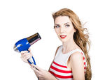 Pretty lady getting a blow dry hair style Royalty Free Stock Images