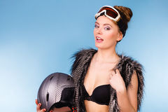 Pretty lady with goggle and helmet. Royalty Free Stock Image