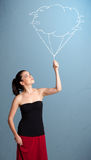 Pretty lady holding a cloud balloon drawing Stock Photography